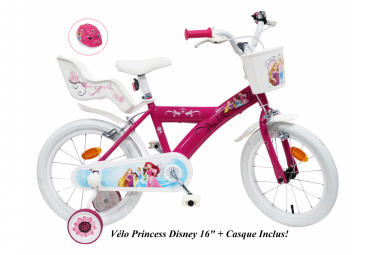Vélo  16  Licence  Princesse    Casque pour enfant de 5 à 7 ans avec stabilisateurs à molettes
