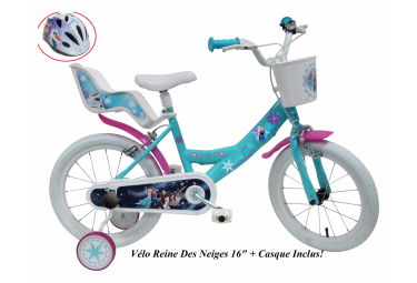 Vélo  16  Licence  Reine des Neiges    casque pour enfant de 5 à 7 ans avec stabilisateurs à molettes