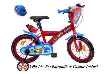 Vélo  14  Licence  Pat Patrouille    Casque pour enfant de 4 à 6 ans avec stabilisateurs à molettes