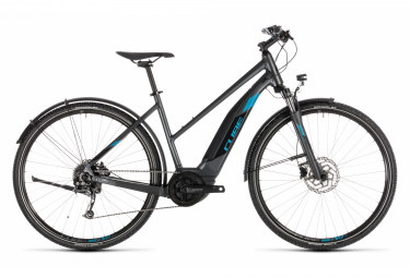 Bicicleta Híbrida Eléctrica Cube Cross Hybrid ONE 500 Allroad Trapeze 700 Gris / Bleu