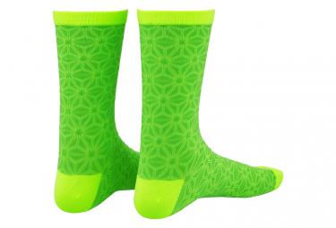 Paire de Chaussettes Supacaz SupaSox Asanoha Neon Vert/Neon Jaune