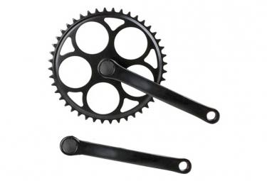 Pédalier vélo vintage noir singlespeed 44 dents pour axe carré .