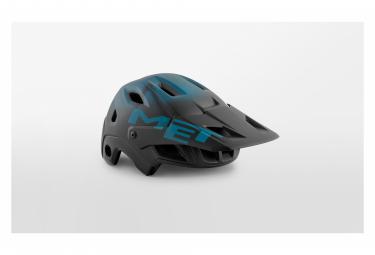 Casque avec Mentonnière Amovible Met Parachute MCR Mips Noir Bleu Turquoise Mat