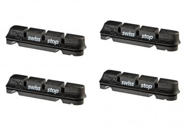 SwissStop FlashPro Original Black x4 Brake Pad Inserts Aluminium Wheels For Shimano / Sram / Campagnolo