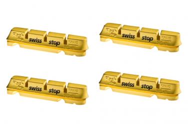 SwissStop FlashPro Yellow King x4 Brake Pad Inserts Carbon Wheels For Shimano / Sram / Campagnolo