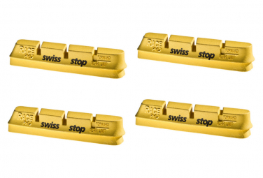 SwissStop RacePro Yellow King x4 Brake Pad Inserts Carbon Wheels For Campagnolo