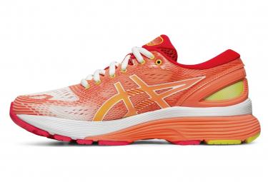 Chaussures de Running Femme Asics Gel Nimbus 21 Blanc / Rouge