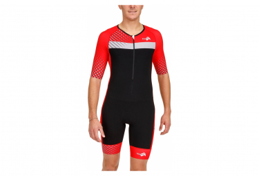 Kiwami PRIMA 2 LD AERO Short-Functions Tri-Function Short Sleeve Suit Black Red