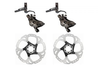 Pair of Shimano Zee brakes BR-M640 Black + Brake disc Shimano SM-RT86 203 mm