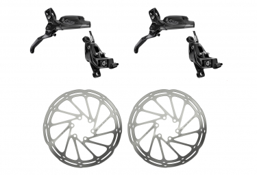 Pair of brakes Sram G2 RSC Black With 2 Sram Centerline Rounded 6 Holes Discs Silver 180 mm