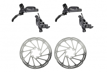 Pair of brakes Sram G2 Ultimate Carbon Gray With 2 Discs Sram Centerline Argent