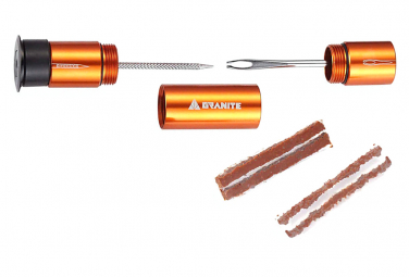 Kit de Réparation Tubeless Granite Design Stash Outils + 4 Mèches Orange