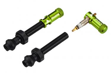 Granite Design Juicy Nipple Tubeless Valves 45 mm with Valve Key Caps Green