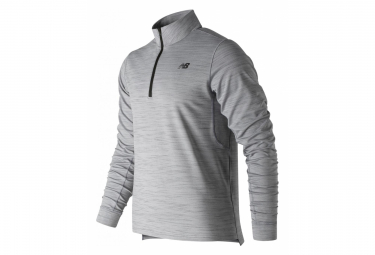 Maillot Manches Longues New Balance 1/2 Zip Anticipate 2.0 Gris Homme