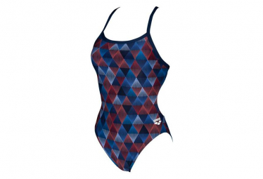 Swimsuit One Piece Woman ARENA Linear Triangle Challenge Multi-colors Blue