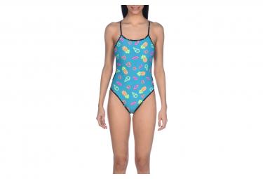 Swimsuit One Piece Arena Neon Lights Reversible Black Multi Colors 40