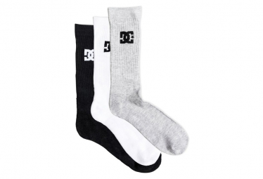 DC Shoes Crew PK Socks Black / Gray / White (Pack of 3 pairs)