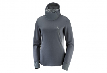 Salomon Long Sleeves Top Hoodie Agile Grey Women