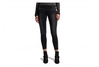 Pantalon Jean Noir Leila Super Skinny Crop Femme Superdry