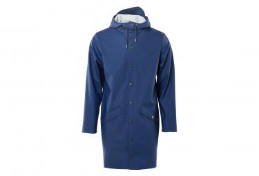 Rains Long Waterproof Jacket Klein Blue