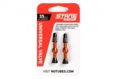 Stan's NoTubes - Valve Stem Pair, Universal, Al, Presta, 35mm, Orange