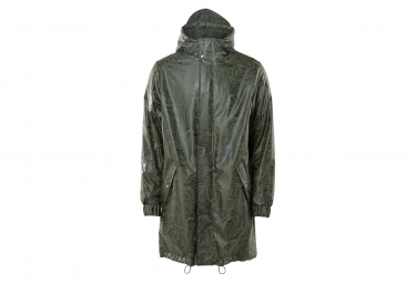 Rains Long Quilted Parka Oil Camo Green