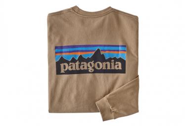 Patagonia Men L/S P-6 Logo Responsibili-Tee Bearfoot Tan L