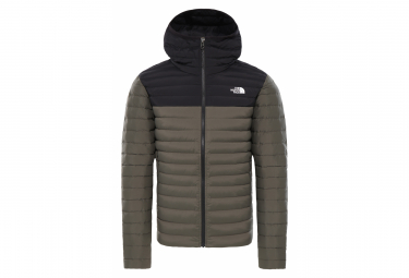 The North Face Stretch Down Hoodie Down Jacket Khaki Black