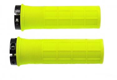 Paire de poignées jaune fluo pour vélo .