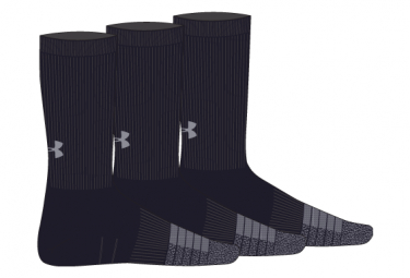 Lot de 3 Paires de Chaussettes Under Armour HeatGear Crew Noir