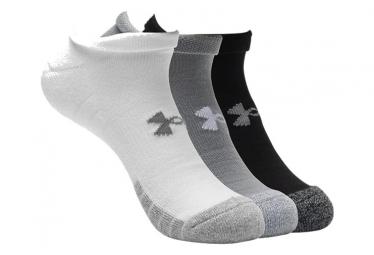 Under Armour Heatgear No Show Socks  Paquete De 3  Negro Gris Blanco 38 42