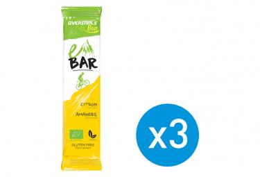 Pack de 3 Barres Energétiques Overstims E-Bar BIO Citron Amande 32 g (1 offerte)