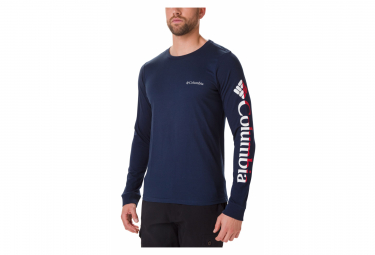COLUMBIA Lodge Graphic Collegiate Lodge Long Sleeves T-shirt Graphic Navy