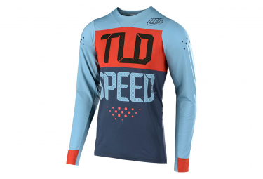 Troy Lee Design Skyline Speed Shop Langarmtrikot Blau Lehm Braun