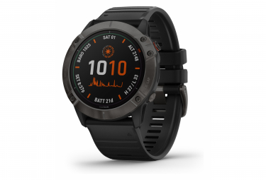 Garmin fenix 6X Pro Solar GPS Watch Titanium Carbon Grey DLC with Black Band