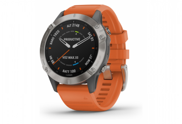 Garmin fenix 6 Sapphire GPS Watch Titanium with Ember Orange Band