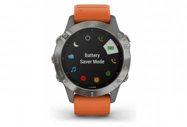 Garmin fenix 6 Sapphire GPS Watch Titanium with Ember Orange Band