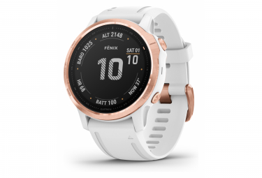 Garmin fenix 6S Pro GPS Watch Rose Gold-tone with White Band