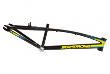 Image of Cadre bmx race stay strong for life v2 black yellow teal pro