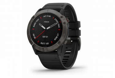 Garmin fenix 6X Sapphire GPS Watch Carbon Grey DLC with Black Band