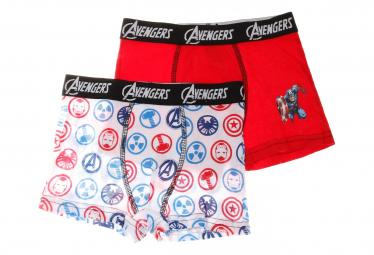 Avengers Lot de 2 Boxers Rouge/Blanc Garçon Freegun