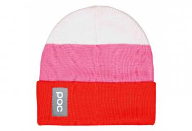 Poc Stripe Beanie Hydrogen White   Prismane Red   Actinium Pink