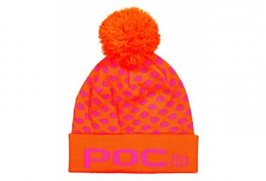 Image of Bonnet a pompon enfant poc pocito pom pom rose fluorescent orange fluorescent