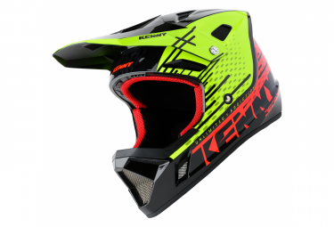Image of Casque integral kenny decade jaune fluo rouge fluo xl 61 62 cm