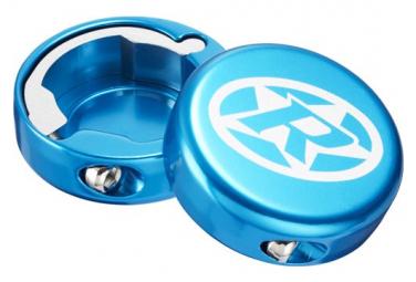 Aluminum Lock-On Reverse Blue Caps