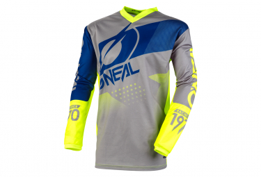 O'Neal Element Factor Long Sleeve Jersey Gray / Blue / Neon Yellow
