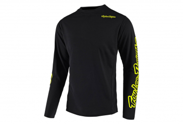 Maillot Troy Lee Designs Sprint Solid de manga larga Negro Neón Amarillo