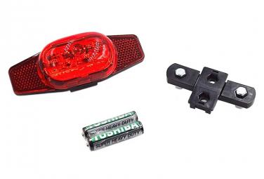 Eclairage clignotant à LED avec catadioptre double pour porte bagages vélo .