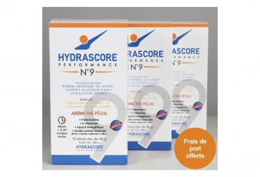 Image of Boisson energetique et isotonique sportive hydrascore n 9 the peche boite de 10 sticks de 40g