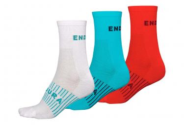 Image of 3 paires de chaussettes endura femme coolmaxr race blanc bleu rouge